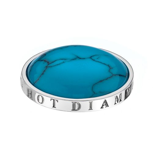 Hot Diamonds Emozioni Silver Plated Stainless Steel Turquoise Coin - Small 25mm EC044